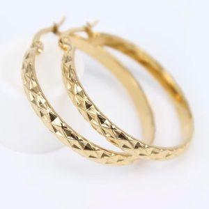 18K gold plated geometric hoop earrings